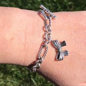 David Yurman Chain Link Bracelet w/ Bow Charm, 18K
